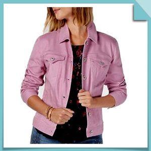 Style & Co Jean Jacket in Pink Size L